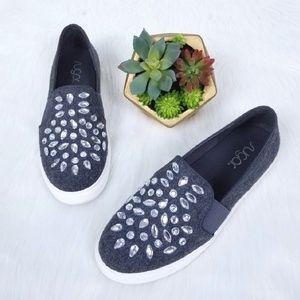 Sugar | Gray Embellished Felt Slip On Sneakers
